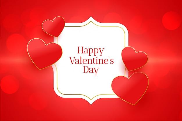 Carta di evento felice giorno di san valentino con cuori rossi