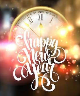 Carta di felice anno nuovo con orologio