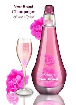 Carta di felice anno nuovo. illustrazioni di champagne rosa