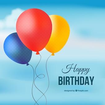 Carta di felice compleanno con palloncini colorati