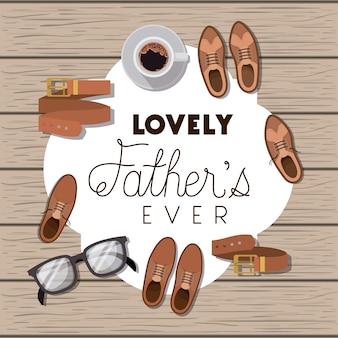 Carta di felice festa del papà con accessori set