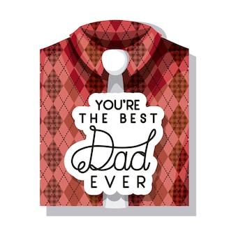 Carta di felice festa del papà con elegante camicia e cravatta