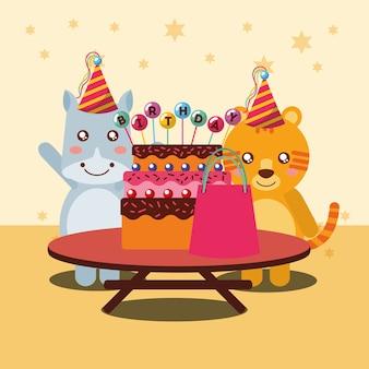 Carta di felice festa di compleanno carino ippopotamo e tigre animali
