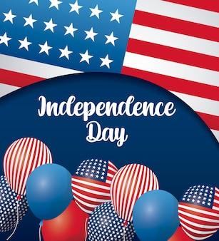 Carta di felice giorno dell'indipendenza con palloncini elio e bandiera