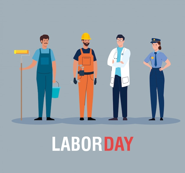 Carta di festa del lavoro, con persone di diverse professioni illustrazione vettoriale design