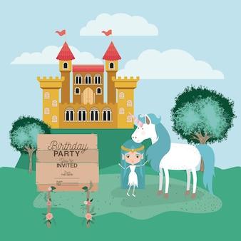 Carta di festa di compleanno su invito con unicorno e fata
