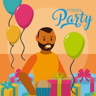 Carta di festa felice con l'uomo con regali e palloncini