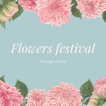 Carta di fiori dalia rosa dell'acquerello