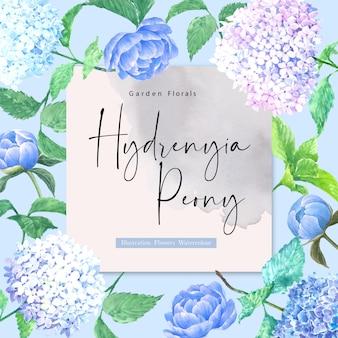 Carta di fiori dell'acquerello hydrenyia
