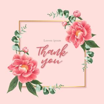 Carta di fiori di peonia dell'acquerello
