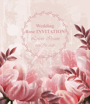 Carta di fiori vintage invito di nozze