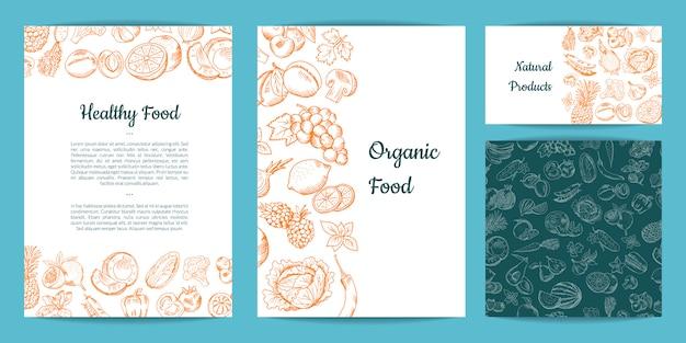 Carta di frutta e verdura disegnata a mano di vettore, brochure, flyer, modello di biglietto da visita