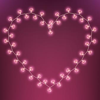 Carta di ghirlanda lampada felice giorno di san valentino. e include anche
