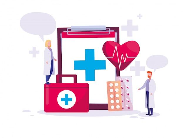 Carta di giornata mondiale della salute con coppia di medici e icone