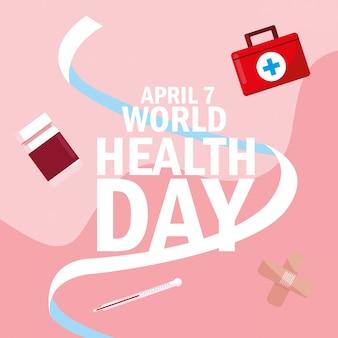 Carta di giornata mondiale della salute con le medicine e le icone della bottiglia
