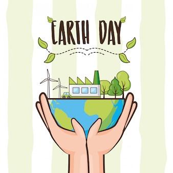 Carta di giornata per la terra, pianeta con alberi e oggetti di energia pulita, illustrazione