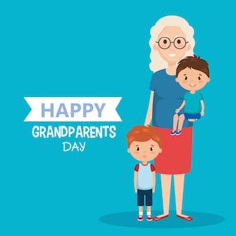 Carta di giorno dei nonni con nonna e geandchildren