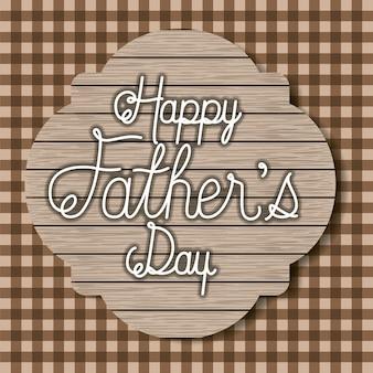 Carta di giorno di padri con sfondo tessile e cornice in legno