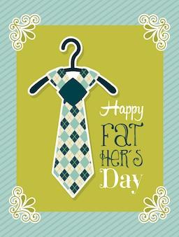 Carta di giorno di padri su sfondo verde illustrazione vettoriale