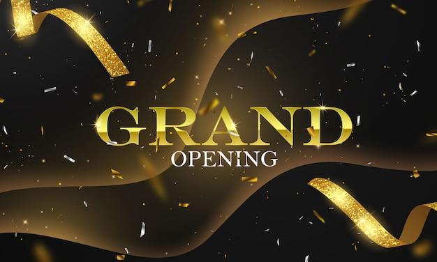 Carta di grande apertura con modello di cornice glitter sfondo nastro dorato.