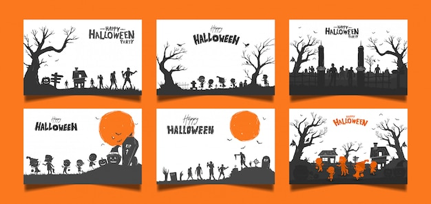 Carta di halloween b & w sul set di arancia
