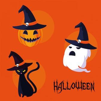 Carta di halloween con personaggi set