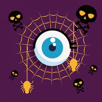 Carta di halloween con ragnatela e occhio umano