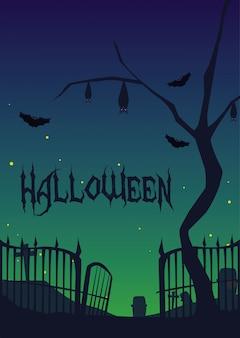 Carta di halloween con scena del cimitero di notte