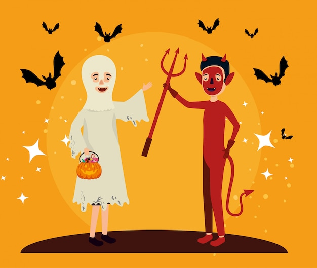 Carta di halloween con travestimento fantasma e diavolo