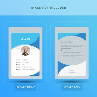 Carta di identificazione ufficio blu astratta o carta d'identità