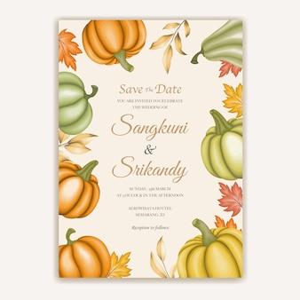 Carta di invito a nozze con foglie d'autunno
