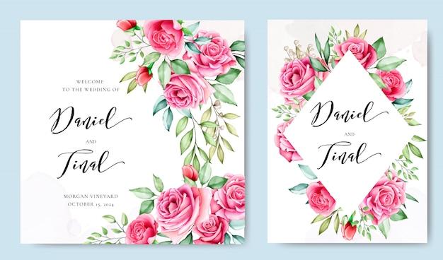 Carta di invito a nozze con foglie e fiori colorati