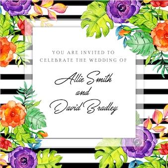 Carta di invito a strisce nere floreali