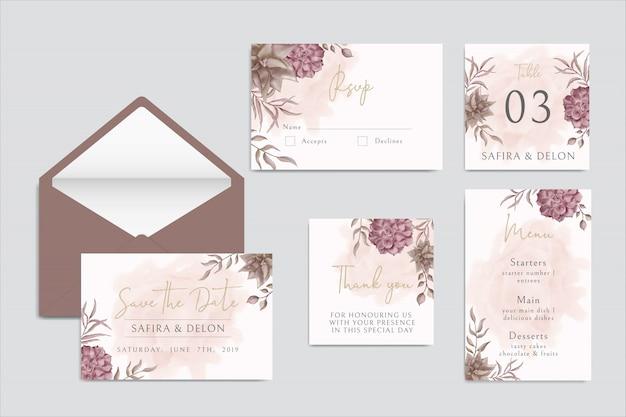 Carta di invito bel matrimonio con cornice floreale e foglia colorata imposta il pacco