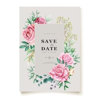 Carta di invito bel matrimonio con corona floreale dell'acquerello