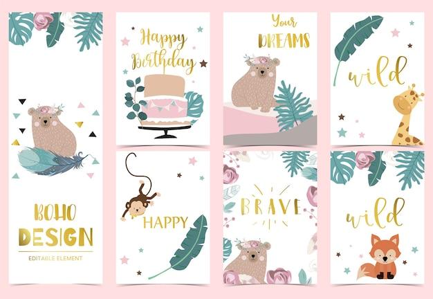 Carta di invito boho oro rosa geometria con rosa, foglia, ghirlanda, piuma, orso, volpe e cornice