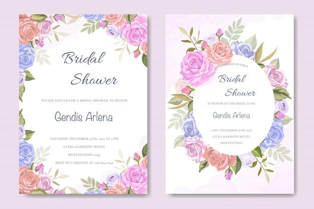 Carta di invito con belle floreali e foglie