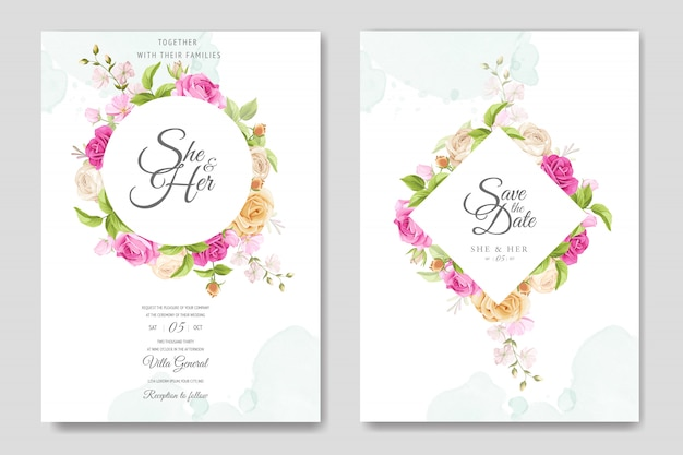 Carta di invito con bellissimo modello di rose gialle e rosa