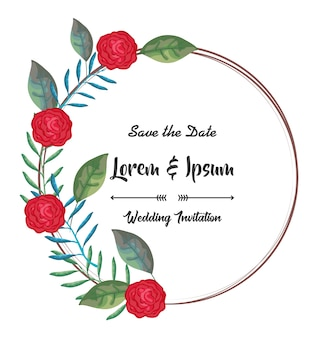 Carta di invito con cornice circolare di fiori