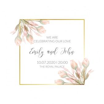 Carta di invito cornice floreale dell'acquerello