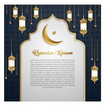 Carta di invito d'oro di lusso ramadan kareem