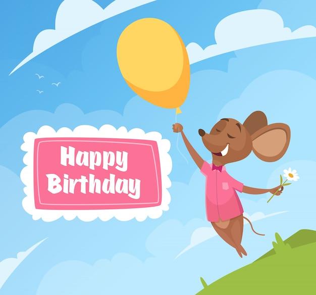 Carta di invito di compleanno. cartello divertente di compleanno del modello dei bambini di celebrazione del topo dei piccoli personaggi