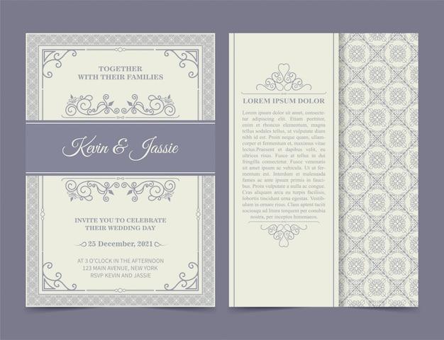 Carta di invito di design stile vintage con uno sfondo bianco