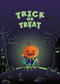 Carta di invito di halloween. mostro di costume di halloween nel cimitero.