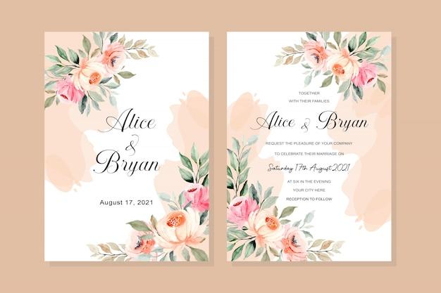 Carta di invito di nozze con acquerello floreale rosa