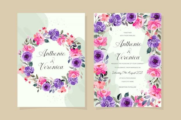Carta di invito di nozze con acquerello floreale viola rosa astratto