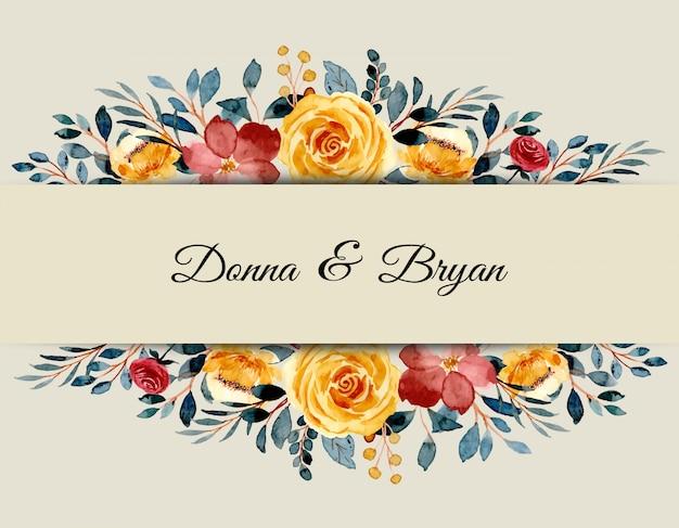 Carta di invito di nozze con acquerello floreale