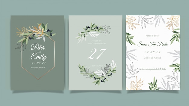 Carta di invito di nozze con bella collezione floreale vettoriale