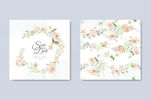 Carta di invito di nozze con belle floreali e foglie