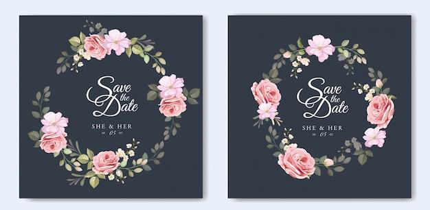 Carta di invito di nozze con bellissimo modello floreale